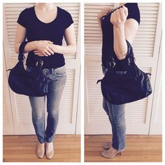 """H&M Black Leather Purse Faux leather. Inside zipper pocket. 2 small slip pockets. Zipper top closure. Expandable and lightweight! Used, but in decent condition! Some wear, but nothing glaringly noticeable! Measurements: 14.5"""" W x 8"""" H x 3.5"""" D. Strap drop is 8.5"""". H&M Bags Hobos"""