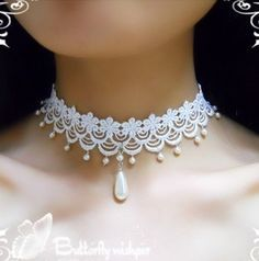Exhilarating Jewelry And The Darkside Fashionable Gothic Jewelry Ideas. Astonishing Jewelry And The Darkside Fashionable Gothic Jewelry Ideas. Lace Necklace, Lace Jewelry, Fabric Jewelry, Bridal Jewelry, Handmade Jewelry, Choker Lace, Leather Necklace, Pearl Necklace, White Choker