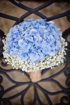 Baby Blue Hydrangea & white Gypsophila (babys breath) hand tied with hessian bridal Bouquet. Wedding at Craigsanquhar Hotel, photo by Lifetime Photography...hydrangeas and baby's breath! I like it a lot!