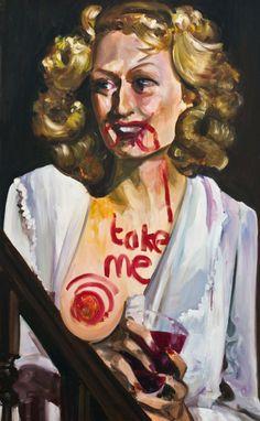 Dawn Mellor, Meryl Streep, 2010,  Oil on canvas, 121.92 x 76.2 cm ©