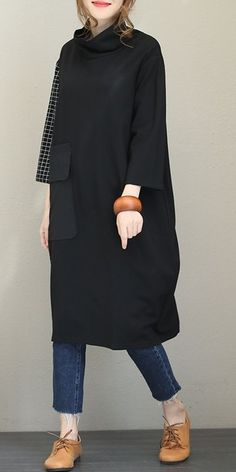 Fall Loose High Neck Cotton Dresses For Women Trendy fashion casual fall white converse Trendy fashion casual. Fashion Casual, Fall Fashion Outfits, Fall Fashion Trends, Mode Outfits, Hijab Fashion, Trendy Outfits, Trendy Fashion, Autumn Fashion, Fashion Dresses