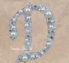 SMALL 4 Silver Cake Topper - Cake Top Bling Wedding Monogram pearls and crystals