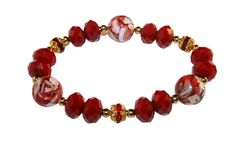 Step into the dark side and sport this beautiful deep red crystal bracelet made with mother of pearl resin and gold toned rhinestones.