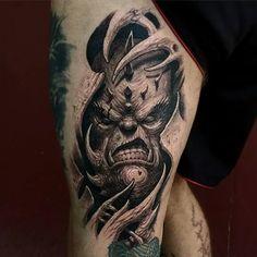 Scary Demon Face Tattoo On Girl Thigh Dark Art Tattoo, 4 Tattoo, Demon Tattoo, Cover Tattoo, Tattoo Drawings, Reaper Tattoo, Evil Tattoos, Face Tattoos, Skull Tattoos