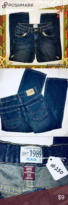 "Children's PLACE Dark Boys Sz10 Straight Jeans #230 -EUC jeans barely worn, maybe 2-3x. No stains, rips, or overwear. They are nearly new. They have adjustable waist too ;)   ➡️➡️ Sizing Boys Size 10 ⭐️Inseam 23"" ⭐️Waist 26"" (Flat 13"") Children's Place Bottoms Jeans"