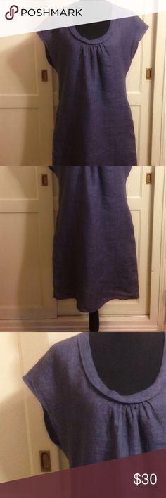 2d670098b84 Malvin Germany Linen Shift Dress Size M 8 Blue Malvin Hamburg Germany Linen  Shift Dress Size