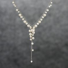 Bridal Pearl Y necklace handmade ani designs by AnniDesignsllc, $25.95