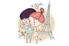 Young girl and boy. Graphics Editable vector eps 8 by NatalyS Cute Couple Sketches, Pencil Sketches Of Girls, Couple Drawings, Love Drawings, Doodle On Photo, Cute Doodle Art, Cute Doodles, Valentines Illustration, Pencil Illustration