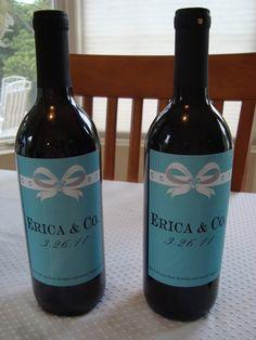 Wine bottle labels bridal shower or wedding printable: Tiffany inspired
