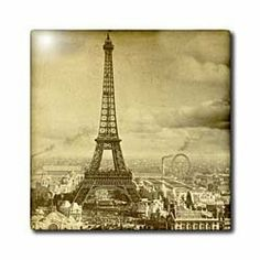 "Eiffel Tower Paris France 1889 Sepia tone - 12 Inch Ceramic Tile by Scenes from the Past. $22.99. Dimensions: 12"" H x 12"" W x 1/4"" D. Image applied to the top surface. Clean with mild detergent. Construction grade. Floor installation not recommended.. High gloss finish. Eiffel Tower Paris France 1889 Sepia tone Tile is commercial quality. Construction grade, glossy finish tiles are produced from material clays and minerals into exceptionally reliable finished products th..."
