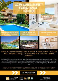 Graphic Design Flyer, Flyer Design, Marbella Property, Email Marketing Campaign, Flyers, Advertising, Luxury, Inspiration, Biblical Inspiration