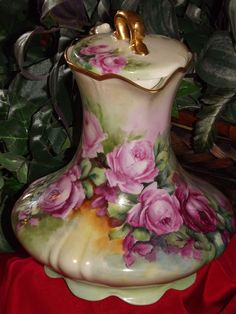 gorgeous pink things | ... Rare Limoges Chocolate Pot Mold Vibrant Colors & Gorgeous Pink Roses