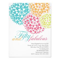 Fifty and Fabulous Abstract flowers Invite