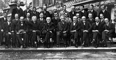 1927 Solvay Conference on Electrons and Photons in Brussels. 17 Nobel Prize winners together, including Albert Einstein, Marie Curie, Erwin Schroedinger, Neils Bohr, and Werner Heisenberg.