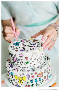 New Cake Photography Ideas Ideas Cute Cakes, Pretty Cakes, Beautiful Cakes, Amazing Cakes, Fondant Cakes, Cupcake Cakes, Baby Cakes, Doodle Cake, Cake Photography