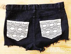 High Waisted Jeans Shorts, Lace Pockets (Size MEDIUM-LARGE) 1041