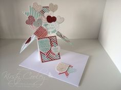 stampIN-K card in a box using Stampin' Up! Hearts a flutter framelits.
