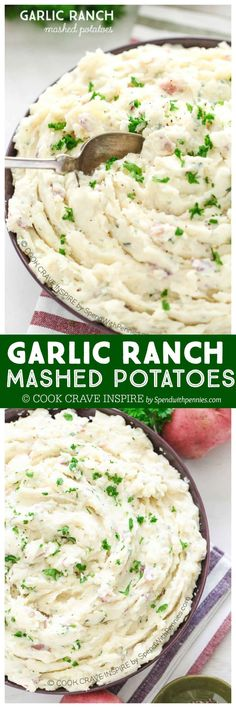 Garlic Ranch Mashed Potatoes are rich and creamy and totally full of flavor! This comforting side dish can easily be made ahead of time and heated or kept warm in the oven! by /spendpennies/ Potato Dishes, Food Dishes, Vegetable Side Dishes, Vegetable Recipes, Ranch Mashed Potatoes, Mashed Potato Recipes, Healthy Cooking, Cooking Recipes, Skillet Recipes