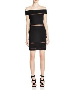 FRENCH CONNECTION Off Shoulder Illusion Dress - 100% Bloomingdale's Exclusive | Bloomingdale's