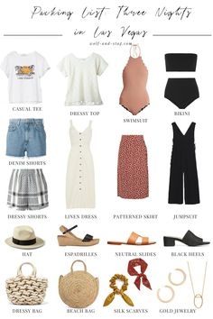 Travel Style: My Packing List for Three Nights in Las Vegas Packing List: Three Nights In Las Vegas In The Hot, Hot Summer Vegas Style, Travel Outfit Summer, Summer Outfits, Outfits For Vegas, Summer Vegas Outfit, Travel Packing Outfits, Vegas Dresses, Midi Dresses, Summer Travel
