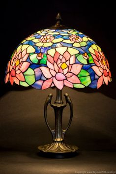 Stained glass water lily lamp. Tiffany lampshade. by WPworkshop
