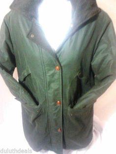 Burberry Green Coat, Jacket, Detachable Hood.Women's Size 4