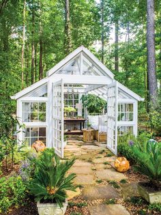 glass Garden room When Laura Gaby wants to take a mental health day (or hour), she need only step into her wooded backyard. There, her glass garden house serves as a year-round retreat for reading, napping, and enjoying nature. Window Greenhouse, Backyard Greenhouse, Greenhouse Plans, Greenhouse Wedding, Small Greenhouse, Dream Garden, Garden Art, Mosaic Garden, Garden Sheds