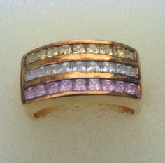 Genuine Vintage Beautiful Multi Colored Ring, Sterling Silver with Gold Wash, Ring Size 7