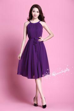 f75b1289e2a 29 Colors Chiffon Dark Purple Knee Skirt Party Dress Evening Wedding  Lightweight Sundress Summer Holiday Maternity