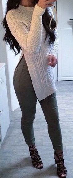 fall outfits going out outfits winter fashion casual work clothing Mode Outfits, Casual Outfits, Fashion Outfits, Womens Fashion, Sweater Outfits, Outfits 2016, Sweater Boots, Tween Fashion, Tunic Sweater