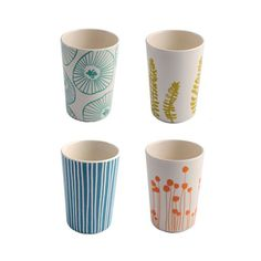 Brighten up your table setting and embrace the mismatched trend with these quirky and bold printed cups. In hardy, dependable melamine, these tough little beauties feature gorgeous minimalist designs i...  Find the Natural Groove Cups - Set of 4, as seen in the Colorful Scandinavian Collection at http://dotandbo.com/collections/colorful-scandinavian?utm_source=pinterest&utm_medium=organic&db_sku=90119