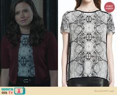 Quinn's black and white printed top on Scandal. Outfit Details: http://wornontv.net/22760 #Scandal