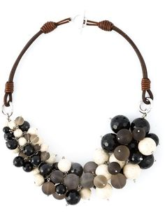 beaded necklace . River stone, black agate and smoky quartz beaded necklace