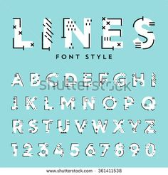 Vector trendy flat font with abstract lines. Latin alphabet from A to Z and numbers from 1 to Beautiful bold typeface with capital letters. Typography Alphabet, Typography Fonts, Lettering Tutorial, Initial Fonts, Geometric Font, Cute Fonts, Sign Writing, Doodle Lettering, Word Design