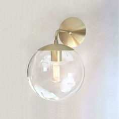 Mid Century Modern Wall Sconce Light Clear Glass Globe - Orbiter 8 Wall Sconce - Wall Mount Lighting by SanctumLighting Antique Wall Lights, Vintage Wall Sconces, Rustic Wall Sconces, Bathroom Wall Sconces, Modern Wall Sconces, Candle Wall Sconces, Wall Sconce Lighting, Bathroom Lighting, Brass Bathroom