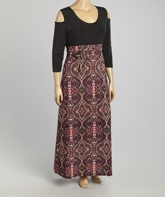 Another great find on #zulily! Black & Pink Abstract Maxi Dress - Plus #zulilyfinds