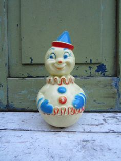 Vintage Toy Clown 1960s Rolly Polly Plastic Clown