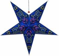 Star Paper Lantern 24  Blue Bollywood Pattern