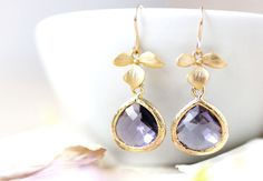 Purple Earrings Gold Earrings Gold Flower by LoveShineBridal