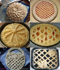 14 of the Most Creative Pie Crust Designs Pie Recipes, Cooking Recipes, Pancake Recipes, Pie Crust Designs, Pie Decoration, Kinds Of Pie, Bread Shaping, Bread Art, Pie Tops