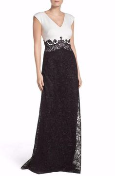 ffbb1ffccdf NEW Tadashi Shoji Two Tone Evening Gown Black White Sz 6 Off Shoulder Gown  Evening