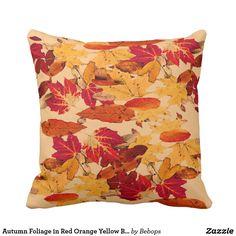 Autumn Foliage in Red Orange Yellow Brown Throw Pillow