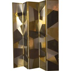 Handmade custom screen, wood structure covered in a patchwork plates of natural brass, stainless steel and rusty iron, natural brass frame, back site