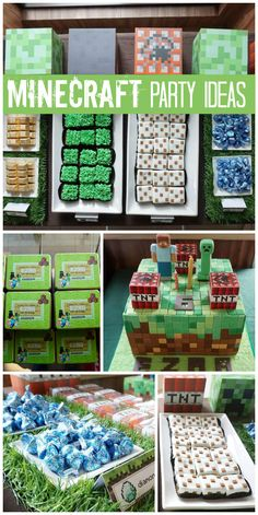 A Minecraft boy birthday party with an amazing cake and party decorations! See more party planning ideas at CatchMyParty.com!