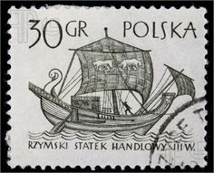 Picture of POLAND, circa 1960 - ancient Roman merchant sail ship on a vintage canceled post stamp, black drawing on white