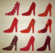 ...Make Your Own Quilt Blocks   Set of 9 Red High Heel Shoe IronOn Sewon by MarsyesQuiltBlocks