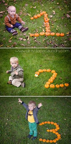 Every year my October baby gets his photo taken with pumpkins in the shape of his age.  It's about $20 worth of pumpkins.
