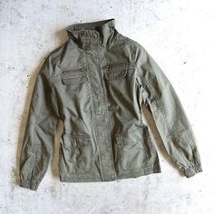 womens utility parka jacket - olive green