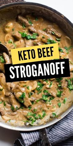 An easy to make beef stroganoff recipe that keeps you from spending all day in the kitchen without sacrificing taste! Perfect for the keto diet. # Easy Recipes low carb Beef Stroganoff Recipe with Sour Cream (Gluten-Free) – Keto Diet Rule Beef Recipes, Cooking Recipes, Easy Keto Recipes, Mince Recipes, Beef Recipe Keto, Gluten Free Stroganoff Recipe, Easy Low Carb Chili Recipe, Low Carb Crockpot Recipes, Best Healthy Recipes