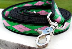Items similar to Clip-on Horse Reins - Pink and Green Argyle on Etsy Horse Stuff, Tack, Pink And Green, Horses, Sun, Personalized Items, Leather, Etsy, Jewelry